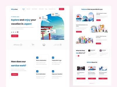 Wibustrez - Website Traveling Landing Page minimal web webdesign japan traveling website landing page illustration flat ux ui design clean