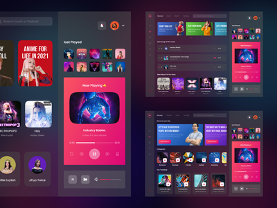 FM Music - Dashboard Music Player for Desktop all menu streaming music dark gradient podcast card play dashboard flat app ui ux design clean
