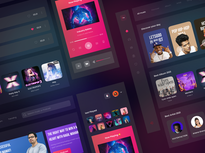 FM Music - Dashboard Music Player Collase Version gradient dark card flat dashboard play music podcast streaming colllase app ui ux design clean