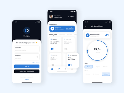 Obsidius - Smart Home Mobile App sign in home clean uui mobile app switch smart device modern ux app ui app light smart home mobile flat app ux ui design clean