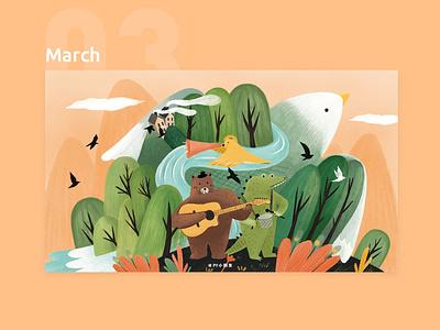 March design illustration calendar 2019