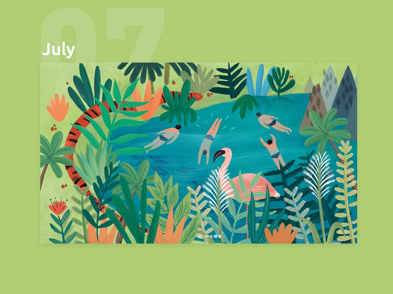 July illustration calendar 2019
