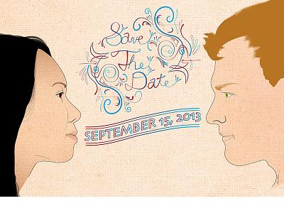 Save The Date portrait illustrator photoshop print vector