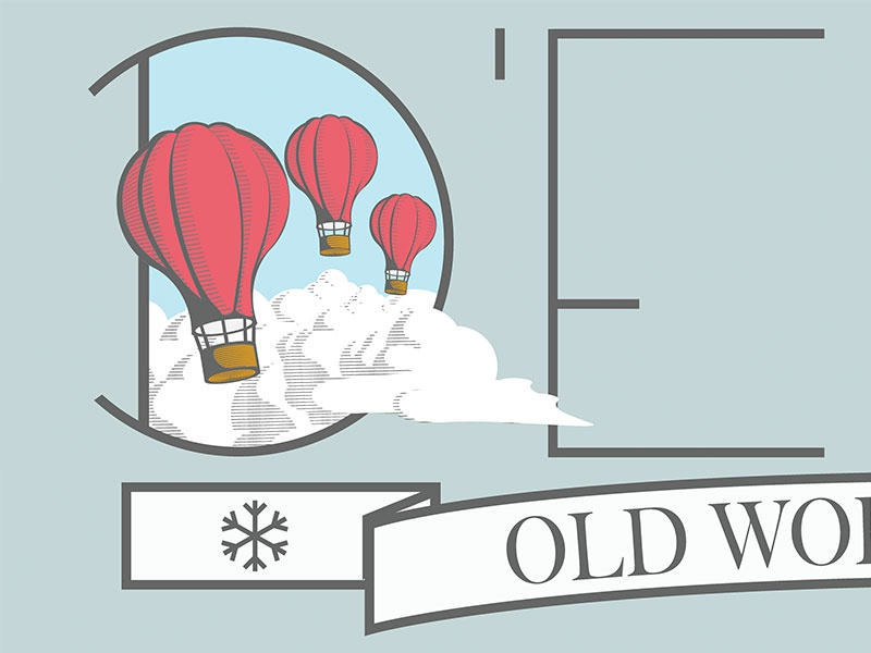 Old World balloons illustrator vector logo