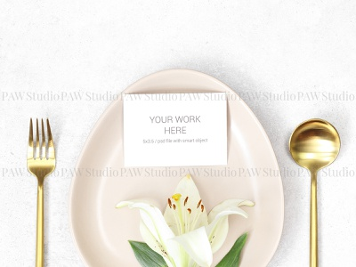 Mockup wedding card with lily on plate business card logo gold background plate wedding design mock up mock lilies rsvp card place name card marriage wedding card