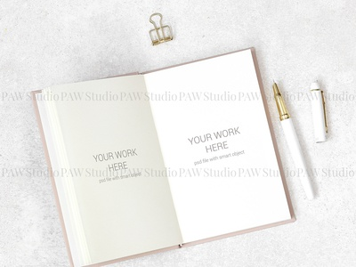 Flat lay mockup notes on granite background