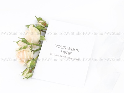 Mockup invitation card with roses and ribbon vintage elegant love cute material ceremony celebrate marriage wedding ribbon rose bouquet pattern card background mock up