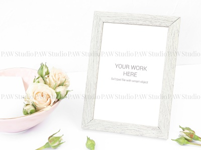 Mockup beige photo frame with roses love cute white card ceremony celebrate marriage wedding bouquet number table pattern plate frame background invitation mockup