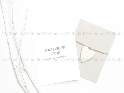 Card mockup with envelope and heart