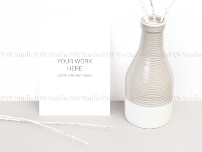 Card mockup on white wall with vasa and branches vase dry sprig wood stationery presentation invitation greeting invitation card card mockup postcard template showcase design branch marriage mock card mock up mockup