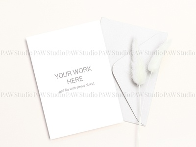 Card mockup with gray envelope