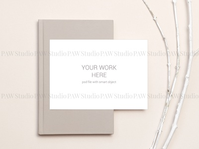 Card mockup on notebook and branches book notebook wood stationery presentation invitation greeting invitation card mockups showcase template postcard mockup design envelope branch marriage card mock mock up