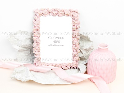 Mockup photo with pink vase and ribbon roses frame photo ribbon stationery presentation invitation greeting postcard templates showcase design mockup template invitation card branch marriage mock card mock up
