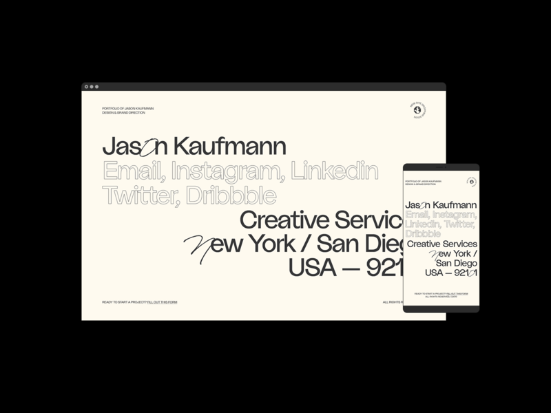 Jason Kaufmann —Landing Page branding design typography portfolio web design website landing page