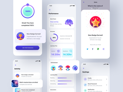 E-learning UI Design top ux ui designer ui trend online learning educational education courses coursera course elearning courses elearning learning management system learning learning platform learning app accuracy gamification badge skillshare
