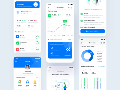 Mobile screen monitoring app ui ux mobile application mobile app design ui trends ui trend trendy clean utility mobile app mobile ui screen monitor productivity app productivity productive