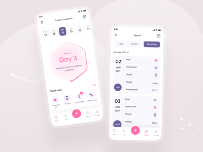 Period Tacker App design trend ux design ui design explorer top ux ui designer women in tech women health women health tracker health productive period period tracker trackers tracker