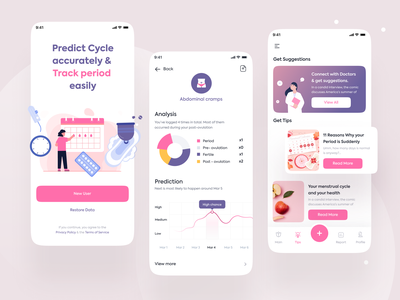 Period Tacker App app ui design app design app ui ux app uiux ux ui periods female health women health women period tracker period activity tracker app ui ui trends ui trend design trends