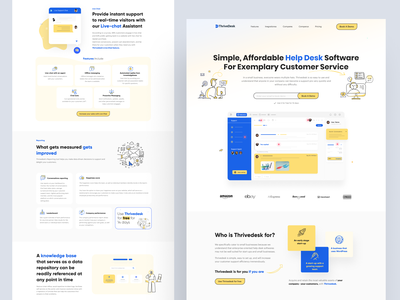 ThriveDesk Landing Page saas app software landing page ui trends ui trend landing saas design saas landing page landing page design landing design landing page landingpage