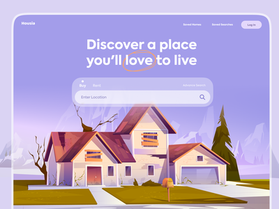 Housia | Property Finder Landing Page real estate logo landingpage ux  ui uxui ui trends ui trend real estate realestate find home booking rent properties property housing
