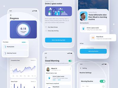 Habit Tracking App UI Design best ui design top trend activity monitoring productivity app health app ui trend mobile ui mobile app design mobile app life tracker habit tracker tracking