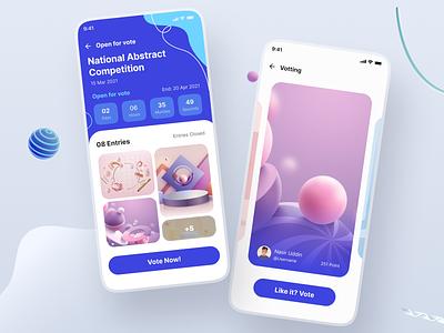 Competition organizer app UI abstract uiux new trend exploration concept vottinig app vote app event app competition