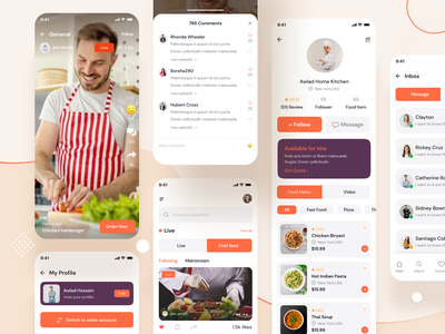 Food Delivery App UX/UI trendy interface cook live chef chef app uxuidesign uxui user experience design user interface app ui mobile app deliveryapp fooddelivery food design ui trend app design ux design ui design ux ui