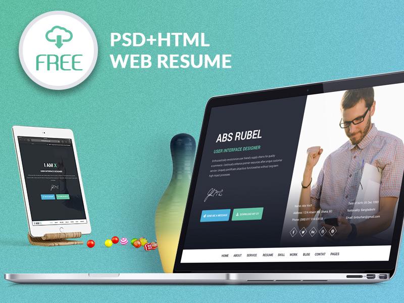 I-AM-X Freebie web resume template (PSD+HTML) web resume resume ui design ux design mockup. website freebie free template freebies web design ui ux