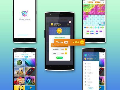 Cross Stitch UI design game app design puzzle ux ui