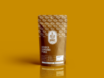 Qohwati Coffee Pouch Mockup branding logo coffee dribble