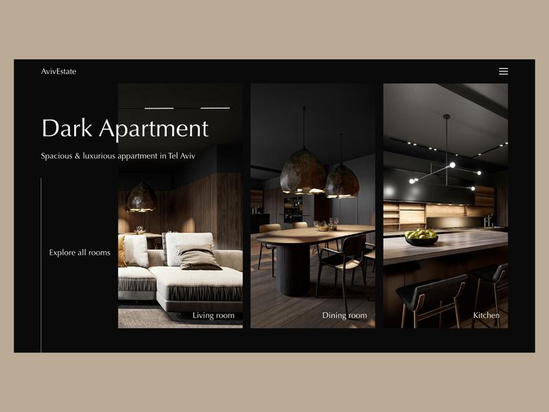 Elegant Apartment Website apartment ui clean ui landing page website minimal black architecture dark ui clean elegant dark