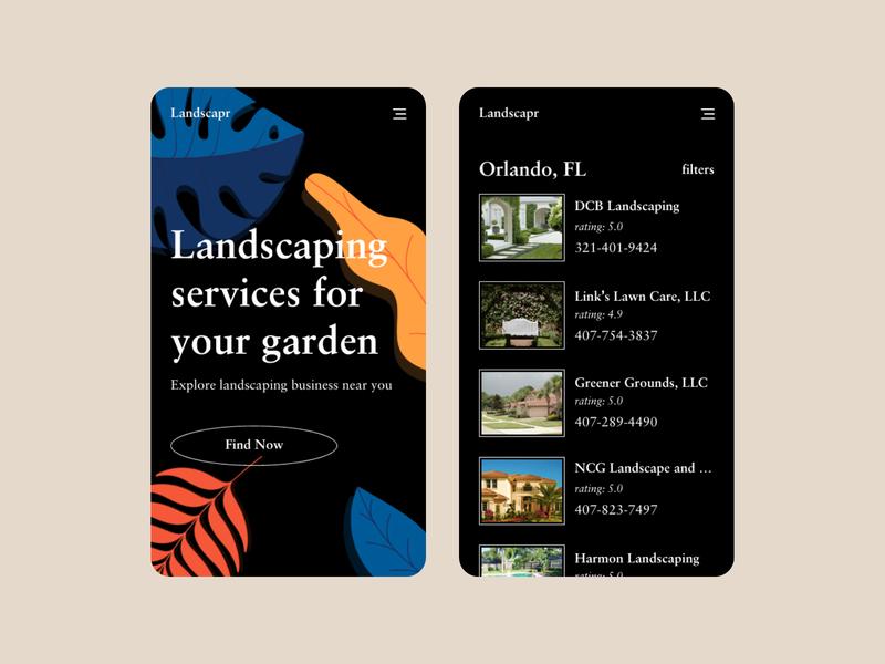 Landscaping App landscaping dark app ux ui minimal black clean dark mode elegant app dark ui