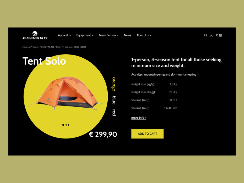 Tent Product Page sport ux dark ui ecommerce landing page web design website ui