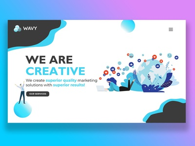 Build a landing page for a creative agency and prototype it design strategy design system adobephotoshop adobeillustrator adobexd web design graphics
