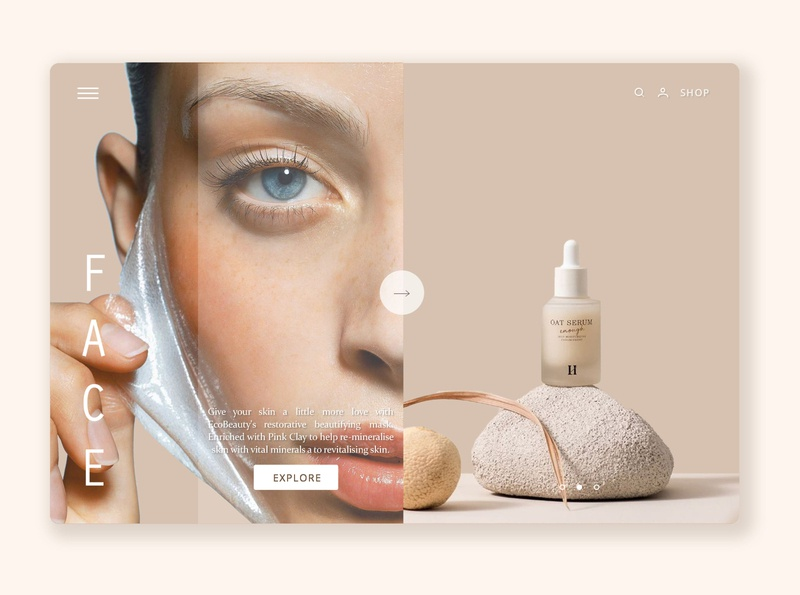 Skin-care Web page branding website typography beauty product skincare beauty minimal web ux ui design