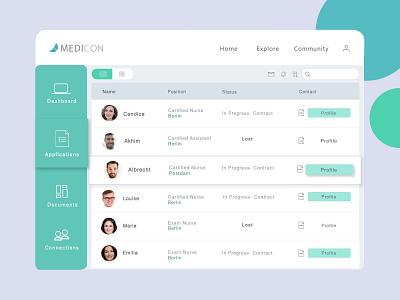 Medical consultancy - application listing webpage ux ui listing applications colour palette grid layout medical webpage webdesign web branding design