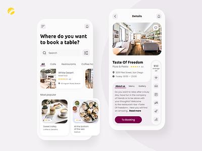 Places to dine search app booking pictures gallery review description great best reccomendation find meal concept search places dine eat design concept app ux ui design