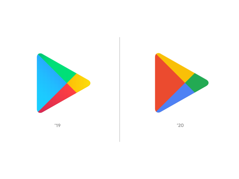 New Google Play Logo 2020 Update Rebrand App Icon 2020 trends app design new 2020 logo android play store google button play color palette color style guide styleguide style rebrand branding brand icon app
