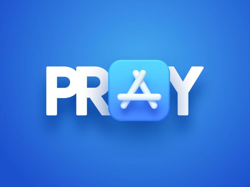 🙏 Pray sans-serif sans serif sanserif sans simple gradient blue minimal words word rebrand typography store apple design apple app icon app store icon app store pray