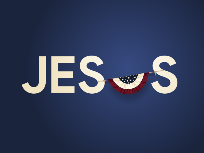 Jesus Typography featuring an American Flag Bunting typogaphy lettering christian lord patriotic decor red white and blue jesus christ words word letters jesus united states of america united states usa american flag american bunting typography