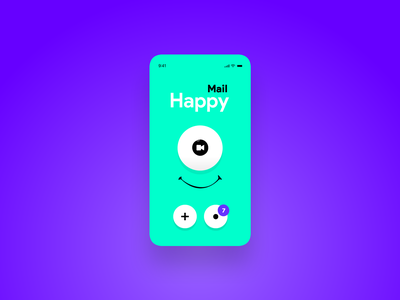 😃 HappyMail 📧 notifications smile eyeball eye smartphones smartphone mobile layout mockup concept uidesign uiux ui pwa web app happy hour inbox email happy happy meal