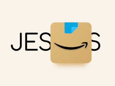 📦 Jesus 👉🏻 Amazon Shopping rebrand fun branding christian christ lord jesus smile 3d icon app ecommerce commerce delivery package box lettering typography rebrand shopping amazon