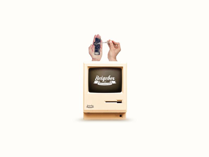 The Original Mac Beige Box for a Hardware Repair Shop crt monitor tech repair rom ram cpu hard drive hard disk floppy disk memory motherboard computer apple mac