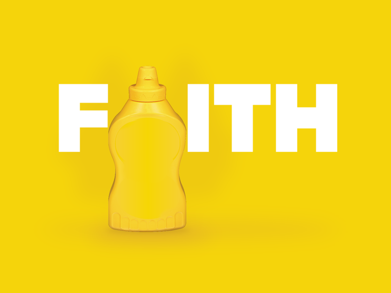 Faith gold yellow condiment word art object type art type font design typography typografi lettering vector bottle mountains tree parable jesus seed mustard faith