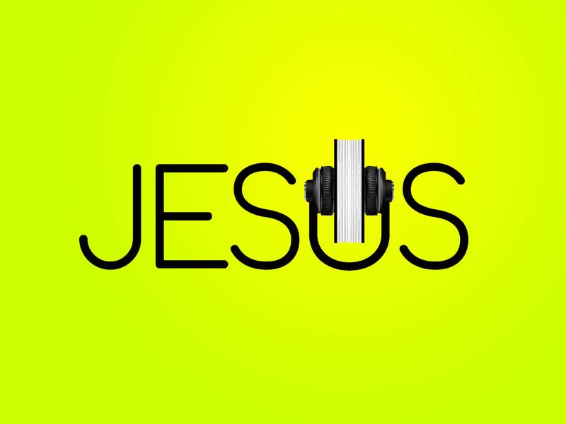 What Would Jesus Say white black yellow green christian typography lettering greenyellow neon gradient books book book art bible speakers speaker headphones jesus listen
