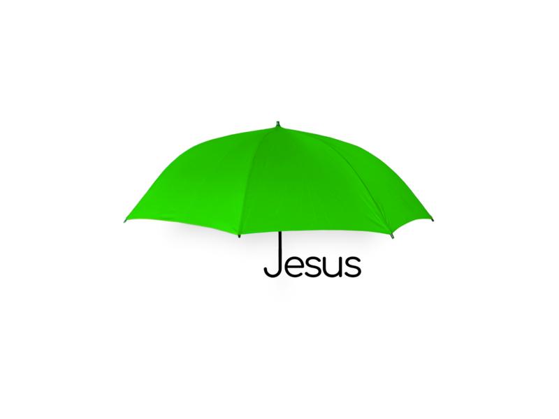 Jesus got you Covered white black  white black raining rain object objects gospel christian christ jesus christ bible typography lettering bright green umbrella covered cover jesus