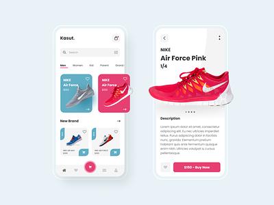 Kasut - Shoe Shop Online nike shoes shoe shop shop shoe nike mobile design flat ux typography mobile app design uiux ui