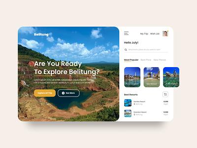 Belitung Explore - Travel Landing Page landing page landing page design app ux typography mobile design mobile app design uiux ui