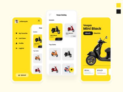 Vespa Catalog - User Interface e-commerce motor vespa app ux typography mobile design mobile app design uiux ui