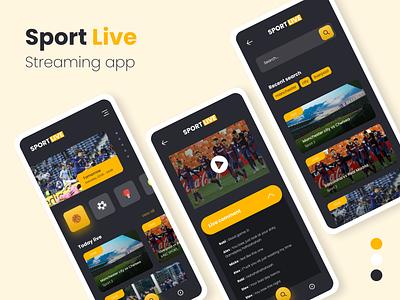 Sport Live Streaming Interface live streaming sport app mobile design ux mobile app uiux design ui
